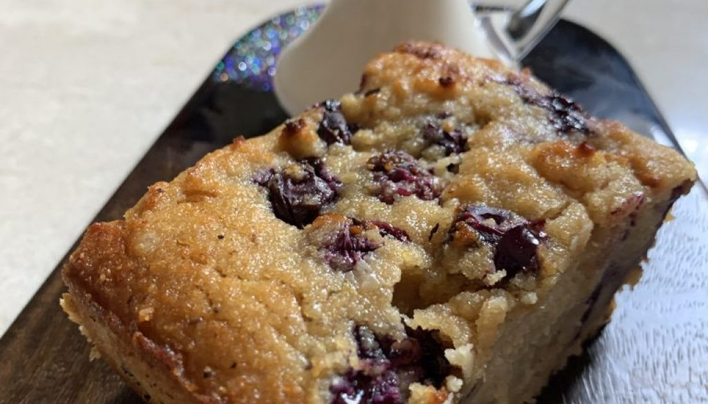 Lemon Blueberry Almond Loaf with Lemon Coconut Cream